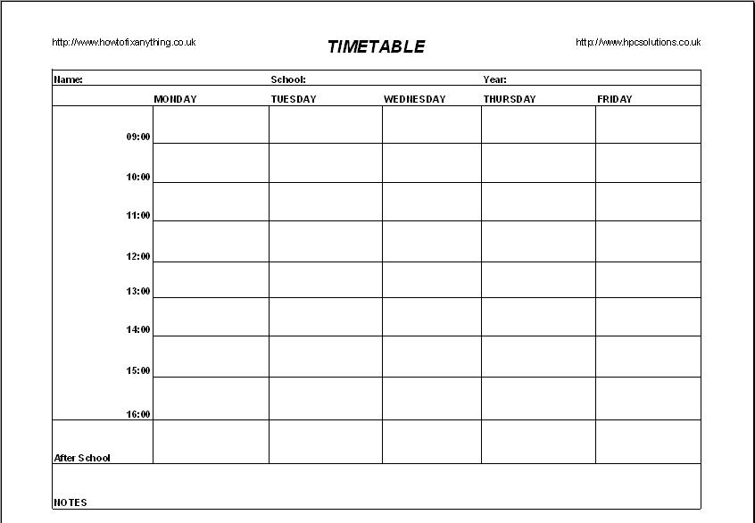 High School Timetable Template  ApigramCom